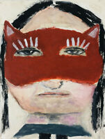 Mini Red Kitty Mask Portrait Art Painting Katie Jeanne Wood