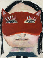 8x10 Print - Kitty Mask Portrait Art Painting Print Katie Jeanne Wood