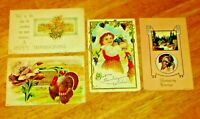 Antique Lot (4) Embossed Thanksgiving Post Cards 1912, 1913 U.S.A.