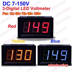 DC 7V-150V 3 Digital LED DC Voltage Test Meter Voltmeter 12V 24V 36V Car Battery