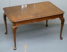 VINTAGE 1920'S BURR WALNUT 4 TO 6 PERSON DINING TABLE ELEGANT CABRIOLET LEGS