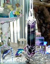 STUNNING HAND-CRAFTED SILVER WIRE-WRAPPED NATURAL FLUORITE CRYSTAL WAND PENDANT