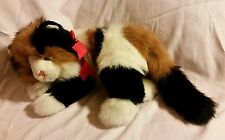 "TY CLASSIC 1995 CALICO CAT MAGGIE LONG HAIR KITTY KITTEN 15"" CUTE VTG RED RIBBON"