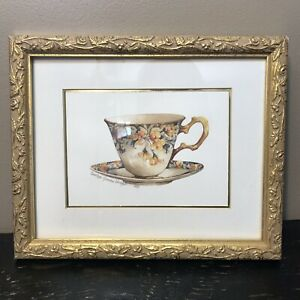 Carolyn Shores Wright Tea Cup Print Vintage Gold Frame Whimsy English Patern