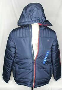Tommy Hilfiger Boys' Fleece Lined Hooded Puffer Jacket, Navy Blazer L 14/16