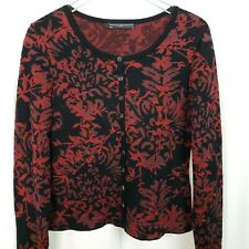 Peruvian Connection Womens Medium Pima Cotton Floral Red Black Cardigan Sweater