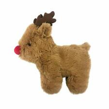 Soft Plush Christmas Reindeer Dog Toy Interactive Pet Play Built In Squeaker New