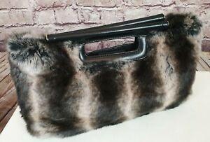 DENTS 1777 Grey Faux Fur Handbag Baguette Style Leather Handles Silver Stud Feet