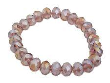 Zest Faceted Crystal Beaded Stretch Bracelet Pink