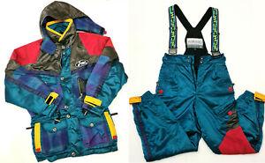 Vintage 90s Team Asics Multicoloured Colourblock Ski Suit Jacket Pants XL