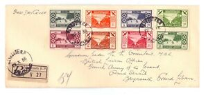 LEBANON 1936 AIR SET ( 8 ) ON REG. COVER FDI