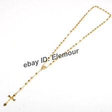 Catholic  Gold tone Beads Rosary Necklace  (US SELLER)