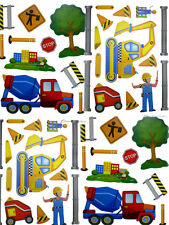 Set 4 Boys Room Construction Trucks Wall Mural Stickers