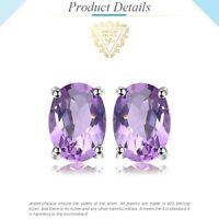 1.4ct Genuine Amethyst Stud Earrings 925 Sterling Silver UK Seller