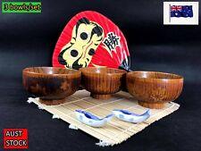 Japanese Style Wooden Handmade Dinner Rice Bowls Set of 3 (B142) NEW
