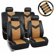 Black Tan PU Faux Leather Car Seat Cover Set Headrests Steering Wheel Full Set