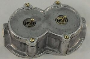 NEW Cast Metal Round 2 Gang Vintage Industrial Light Switch - BS EN Approved