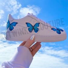 Custom nike airforce 1 with blue butterflies af1 butterfly art shoes all sizes
