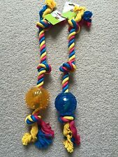 DOG COLORFUL ROPE CHEW TOY  /W TPR BALL  DIA8*50CM