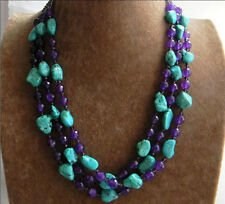 New 3 Rows Nugget Turquoise & Faceted Purple Amethyst & Crystal Beads Necklace