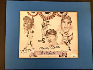MICKEY MANTLE / WILLIE MAYS / SNIDER SIGNED AUTO MATTED  LITHOGRAPH /100 JSA LOA