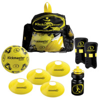 KICKMASTER Backpack Football Training Kit✅Shin Pads Cones Water Bottle Sport Set