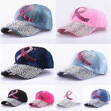 Bling Women Men Denim Rhinestone Studded Baseball Cap Adjustable Sun Hat