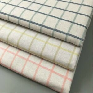 Linen Cotton Waterproof Fabric Plaid Print for Table Cloth Curtain By Meter