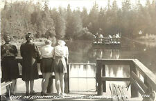 Postcard Michigan Manistique Raft Kitch-iti-kipi Spring Schoolcraft Cty RPPC '46