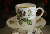 WONDERFUL ROYAL WORCESTER CAN STYLE FRUITS & GOLD WORK DEMITASSE CUP & SAUCER #1