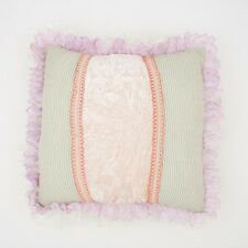 Pastels multicoloured lace trimmed cushion cover 40x40