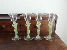 4  verres ancien  cristal    Royale de champagne cariatide en couleur