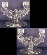 2 Tiffin Glass Feather Wing Double Branch Candlesticks Pair