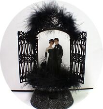 Sexy Black Gown Groom Wedding Cake Toppers Halloween Cutom design Gothic