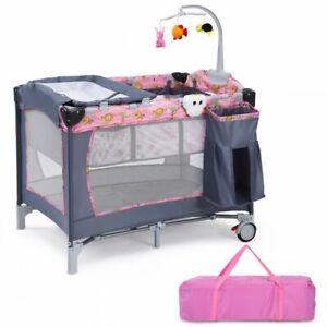 Foldable 2 Color Baby Crib Playpen Playard