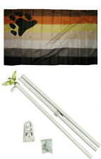 3x5 Gay Pride Bear Rainbow Flag w/ 6' Ft White Flagpole Kit