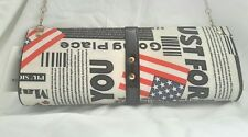 American Flag Newspaper Theme Clutch Crossbody Handbag With Removable Chain