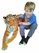 """Realistic Plush Large Brown Tiger Soft Toy 140cm 50"""" Lifelike Features."""