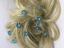 Bridal Wedding Pale Turquoise flower Crystal Diamante Hair Pins Clips  x 10 prom