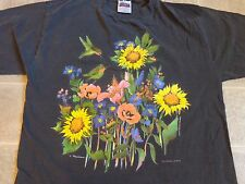 vtg 90s HUMMINGBIRDS FLOWERS art T-SHIRT LG victoria canada cook design colorful