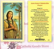 St Kateri Tekakwitha with prayer  - Laminated Holy Card