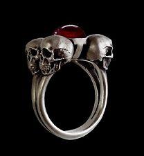 Sterling Silver Four Horsemen engagement Skull Ring Garnet - All Sizes gothic