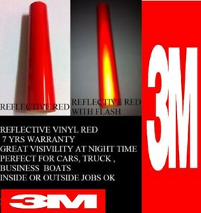 """24 """" x  Feet Red 3M™  Reflective Roll  Vinyl Adhesive Cutter Sign 7 years"""
