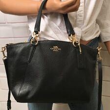 Coach Kelsey Black Gold Pebbled Leather F36675 Shoulder Handbag Purse