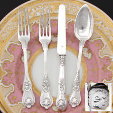Antique French Sterling Silver 4pc Flatware Setting for One, Figural Mascarons