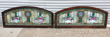 Beautiful Pair of Antique Arched Stained Glass Windows w/ Flower Bowl Vase