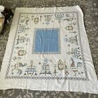 Vintage Cotton Rooster Chicken Dog Cats  Tablecloth 53 X 45 Roosters Aqua White