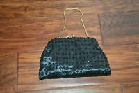 Vintage SNP Chicago Black Beaded Evening Hand Bag Clutch Hong Kong Purse