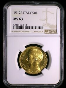 Kingdom of Italy 1912 R Gold 50 Lire *NGC MS-63* Sharp Lustrous Very RARE