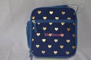 Pottery Barn Kids Mackenzie Classic Lunch Bag Gold Hearts Navy Mackenzie Monogra
